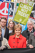 "Nicola Sturgeon - A CND led national demonstration to protest against Britain's nuclear weapons system: Trident. They state - ""The majority of the British people, including the Labour leader Jeremy Corbyn, oppose nuclear weapons. They are weapons of mass destruction, they don't keep us safe and they divert resources from essential spending."" The march from Hyde park to Trafalgar Square was supported by Friends of the Earth, the Green party, Greenpeace, the PCS Union, the Quakers, the Stop the War Coalition, War on Want amongst amny others."