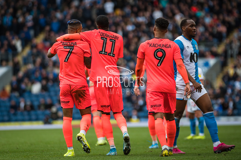 Juninho Bacuna of Huddersfield Town and Adama Diakhaby of Huddersfield Town celebrating their team's second goal during the EFL Sky Bet Championship match between Blackburn Rovers and Huddersfield Town at Ewood Park, Blackburn, England on 19 October 2019.