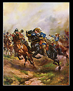 Battle of Edgehill, Warwickshire, 23 October 1642, the first pitched battle of the English Civil War. Prince Rupert leading the Royalist cavalry against the Parliamentary force.  Early 20th century illustration.
