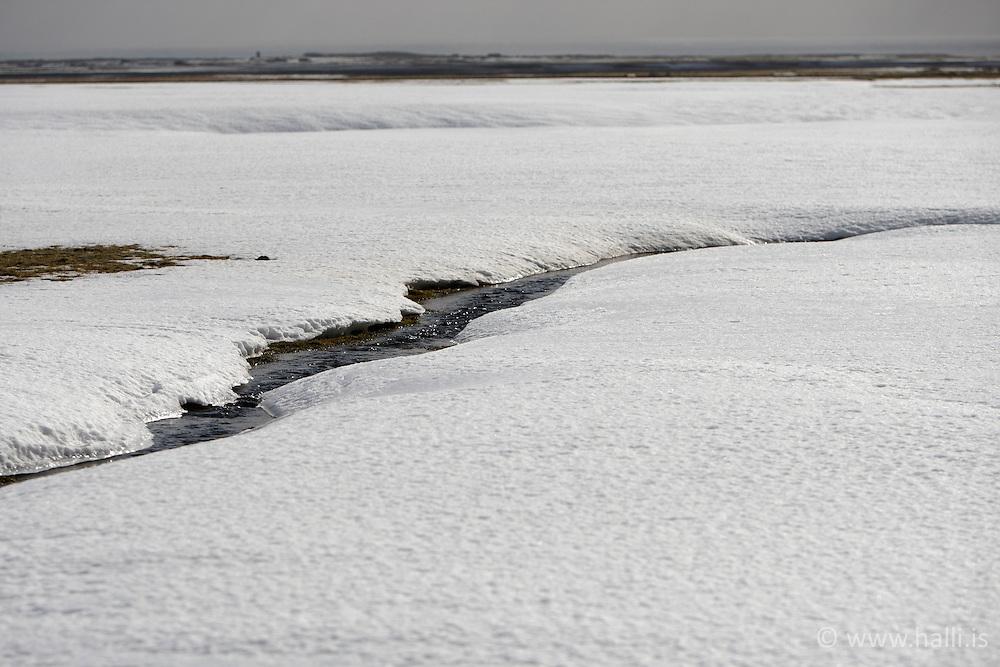 Winter is leaving and the snow is melting - Vorið að koma og snjórinn að bráðna við Pétursey