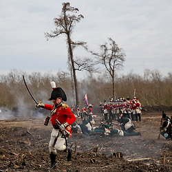 British troops march upon the Americans during a reenactment at the 200th anniversary of the Battle of New Orleans in Chalmette on on Sunday, January 11, 2015. (Photo by: Derick E. Hingle)