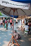 Google Favorite Places sign at Chatuchak Weekend Market in Bangkok, Thailand.