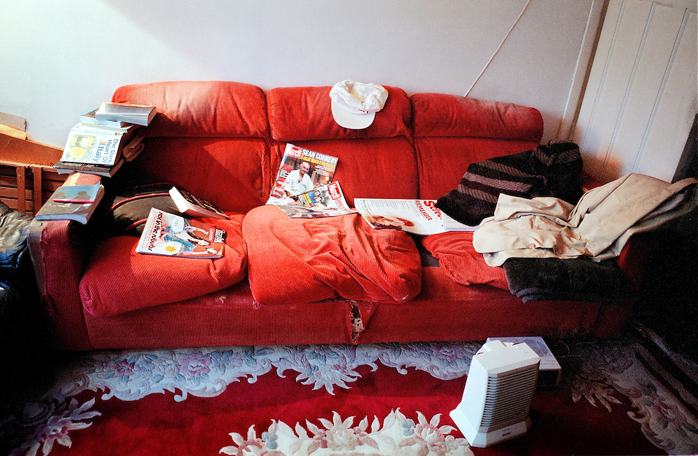 The sofa of the author, JG Ballard, at his home. Shepperton, UK. 2004