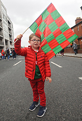 Its not over Yet !!!  Keeping the flag flying 2 year old James Wall from Ballina at the All Ireland Semi Final against Kerry at Croke Park.<br />Pic Conor McKeown