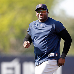 February 17, 2011; Fort Myers, FL, USA; Boston Red Sox first baseman David Ortiz (34) during spring training at the Player Development Complex.  Mandatory Credit: Derick E. Hingle