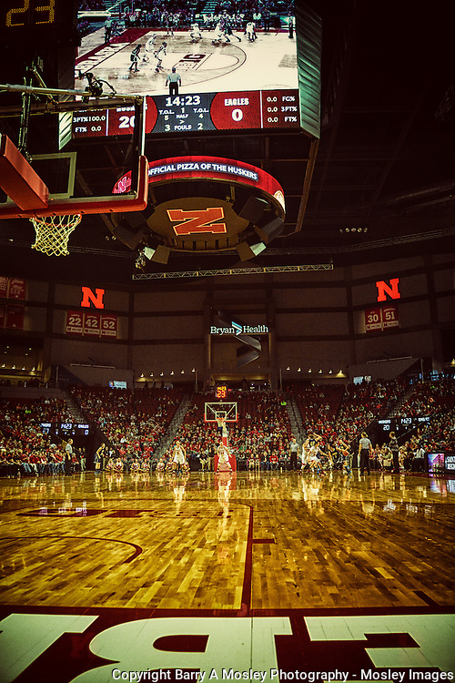 Floor view. Photographing under the hoop at the University of Nebraska Huskers Women's team in 2013 - Barry A Mosley Photography.