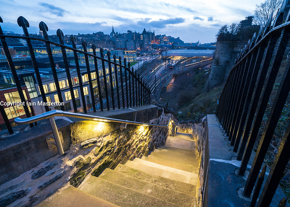 New refurbished Jacob's Ladder stairway linking Canongate with Calton Hill in Edinburgh, Scotland, UK
