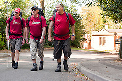 At St Dunstans Centre on Fullwood Road Sheffield, from left to right are Carlie Eastwood,  Billy Black and Chris Lee who are all taking part in the Center2Centre March from Bristol to LLandudno a distance of 327 miles.13th September2011 Image © Paul David Drabble