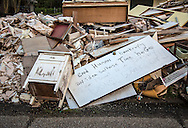 Sept 15, 2016, Baton Rouge Louisiana,  debris in front of a home flooded during the 1000-year flood.