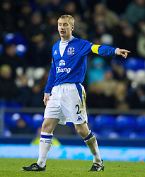 LIVERPOOL, ENGLAND - Thursday, December 17, 2009: Everton's captain Tony Hibbert in action against FC BATE Borisov during the UEFA Europa League Group I match at Goodison Park. (Pic by David Rawcliffe/Propaganda)
