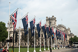 June 2, 2017 - London, England, United Kingdom - British Dominion flags are seen at Westminster, in Parliament Square, London on June 2, 2017. The flags have been put for the celebration of Trooping The Colour ant the State Opening of Parliament, by Her Majesty Queen Elizabeth II. (Credit Image: © Alberto Pezzali/NurPhoto via ZUMA Press)
