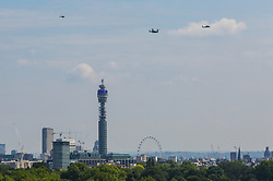 Marine One thought to contain US President Donald Trump, seen from Primrose Hill, London. July 12 2018.