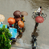 Aerial view of the streets of Mandaly during rainfall