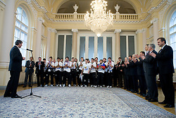 Slovenian National Football team at reception at president of Slovenia dr. Danilo Turk, on November 19, 2009, in President palace,  Ljubljana, Slovenia. Slovenia won 1:0 and qualified for the FIFA World Championships 2010. (Photo by Vid Ponikvar / Sportida)