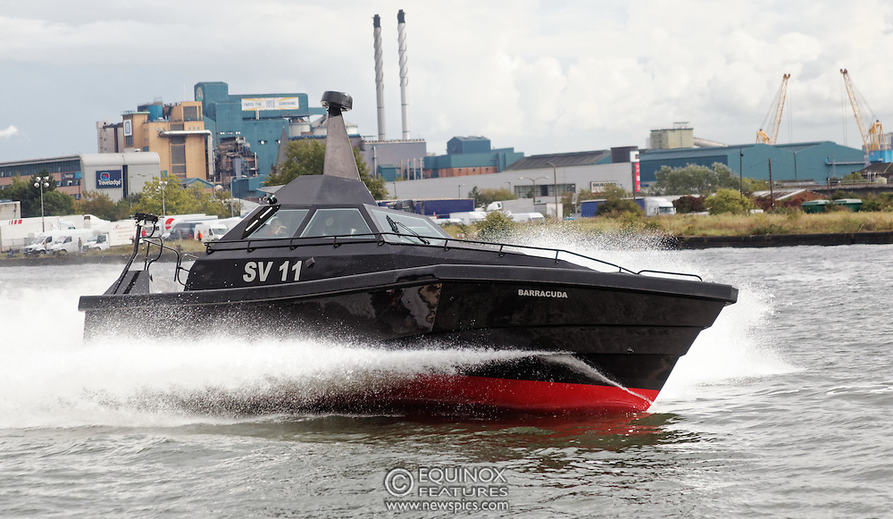 London, United Kingdom - 18 September 2015<br /> Safehaven Marine demonstrate their SV11 Barracuda stealth boat with front mounted retractable gun and radar avoidance technology at Operation MARICAP waterborne demonstration at the defence and security exhibition DSEI at ExCeL, Woolwich, London, England, UK.<br /> (photo by: EQUINOXFEATURES.COM)<br /> <br /> Picture Data:<br /> Photographer: Equinox Features<br /> Copyright: &copy;2015 Equinox Licensing Ltd. +448700 780000<br /> Contact: Equinox Features<br /> Date Taken: 20150918<br /> Time Taken: 14333220<br /> www.newspics.com