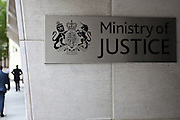 The front entrance sigh to the Ministry of Justice (MOJ), central London.