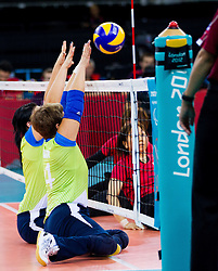 Bogomira Jakin of Slovenia during 5th - 8th place sitting volleyball match between National teams of Slovenia and Japan during Day 7 of the Summer Paralympic Games London 2012 on September 4, 2012, in ExCel Exhibition centre, London, Great Britain. Slovenia defeated Japan 3-0. (Photo by Vid Ponikvar / Sportida.com)