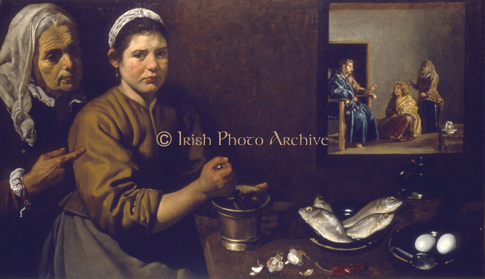 Christ in the House of Martha and Mary' (1618).  Martha supervises work in the kitchen where the cook uses pestel and mortar to pound ingredients. On table in front of her are garlic, chili, eggs and fresh fish. Inset: Martha indignantly interrupts conversation between her sister Mary and Jesus, asking him to send Mary to help with the domestic tasks. Bible: Luke 10.42. Diego Velasquez (1559-1660) Spanish painter.