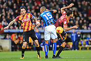 Romain Vincelot challenges Joe Thompson during the EFL Sky Bet League 1 match between Bradford City and Rochdale at the Coral Windows Stadium, Bradford, England on 12 November 2016. Photo by Daniel Youngs.