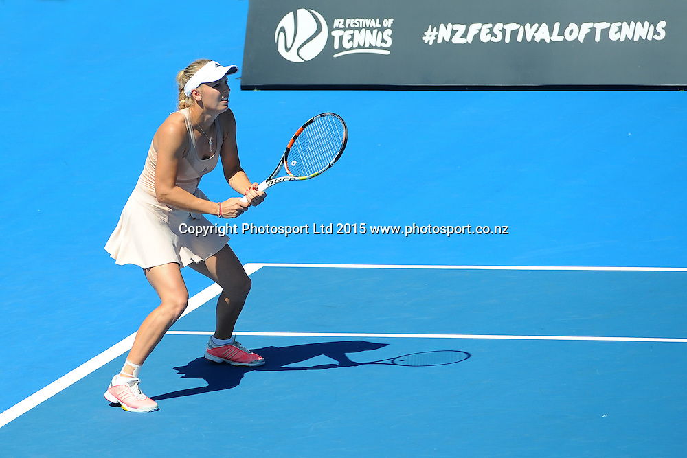 Danish player Caroline Wozniacki during her Singles Finals match against Venus Williams of the USA at the ASB Classic Women's International. ASB Tennis Centre, Auckland, New Zealand. Saturday 10 January 2015. Copyright photo: Chris Symes/www.photosport.co.nz