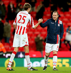Peter Crouch of Stoke City celebrates with Charlie Adam - Mandatory by-line: Matt McNulty/JMP - 03/01/2017 - FOOTBALL - Bet365 Stadium - Stoke-on-Trent, England - Stoke City v Watford - Premier League