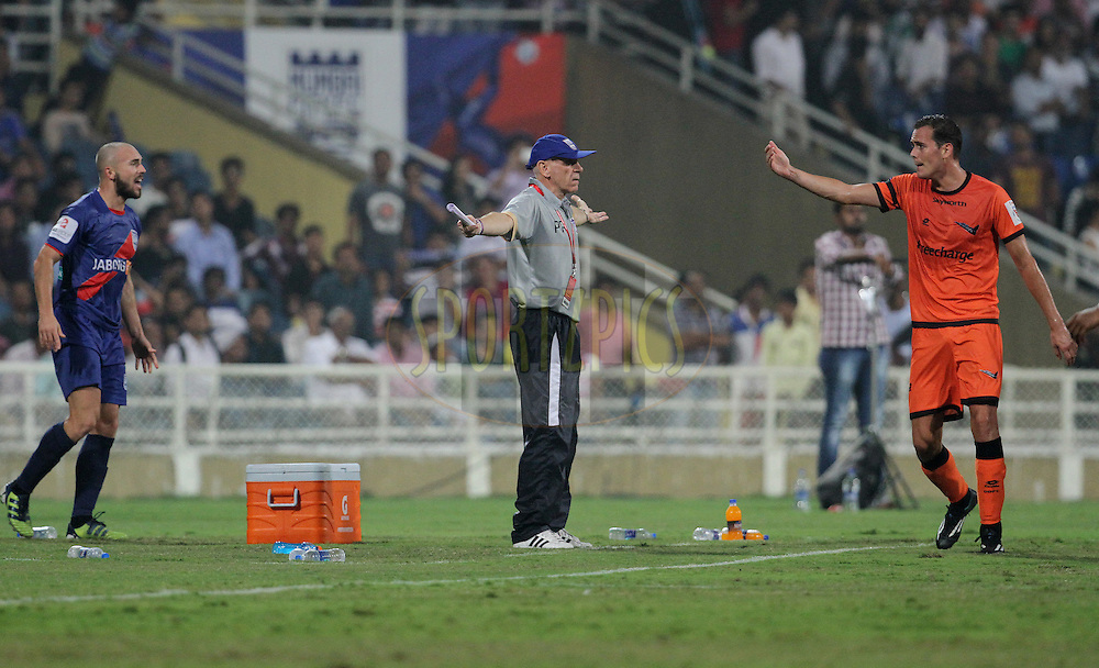 Mumbai City FC coach Peter Reid reacts during match 22 of the Hero Indian Super League between Mumbai City FC and Delhi Dynamos FC City held at the D.Y. Patil Stadium, Navi Mumbai, India on the 5th November.<br /> <br /> Photo by:  Vipin Pawar/ ISL/ SPORTZPICS