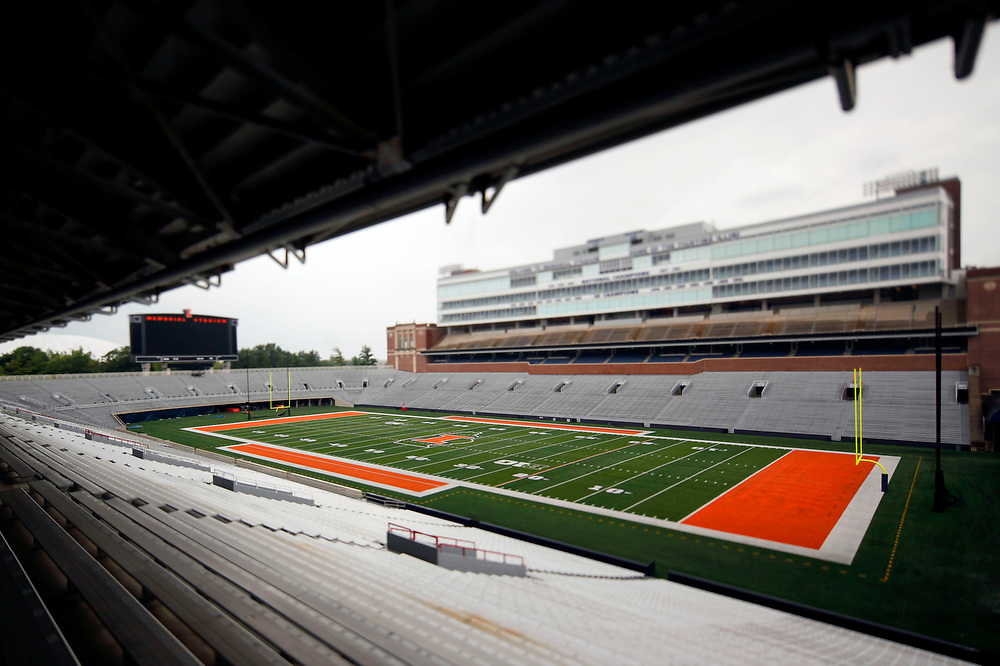 Memorial Stadium is seen after football media day Sunday, Aug. 10, 2014, on the University of Illinois campus in Champaign, Ill. (Lee News Service/ Stephen Haas)