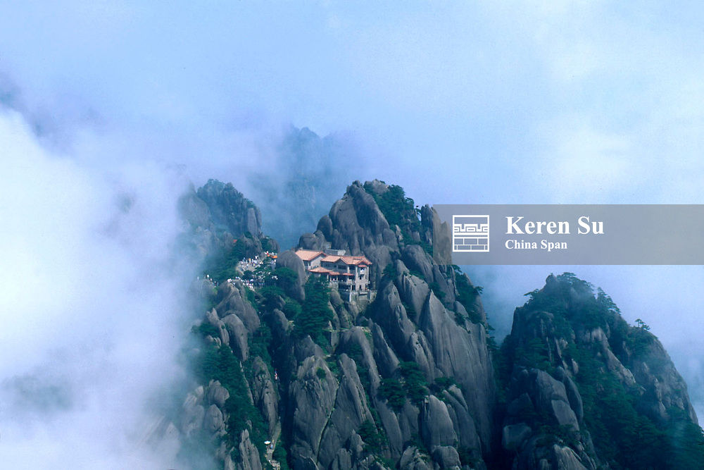 Jade Screen Peak in mist, Mt. Huangshan (Yellow Mountain), Anhui Province, China