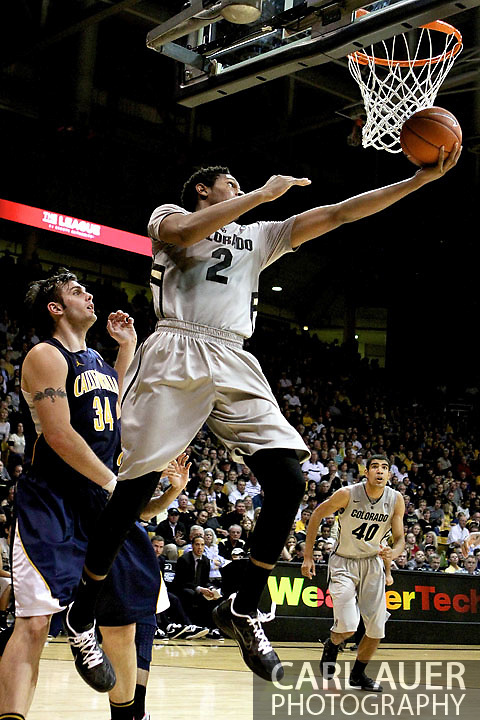 January 27th, 2013 Boulder, CO - Colorado Buffaloes freshman forward Xavier Johnson (2) lays up a shot during the NCAA basketball game between the California Golden Bears and the University of Colorado Buffaloes at the Coors Events Center in Boulder CO