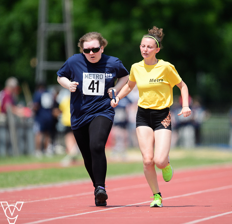 Metro Blind Sport's 2017 Athletics Open held at Mile End Stadium.  100m.  Hannah Bromley-Challenor with guide runner<br /> <br /> Picture: Chris Vaughan Photography for Metro Blind Sport<br /> Date: June 17, 2017