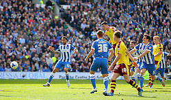 Michael Keane ( 3rd L ) of Burnley scores to make it 2-2 - Mandatory by-line: Paul Terry/JMP - 02/04/2016 - FOOTBALL - Amex Stadium - Brighton, England - Brighton and Hove Albion v Burnley - Sky Bet Championship