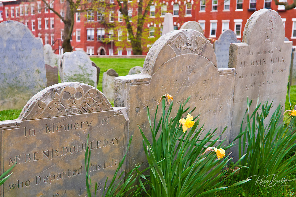 Tombstones at Copp's Hill Burying Ground on the Freedom Trail, Boston, Massachusetts