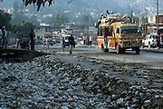 Port-au-Prince, Haiti.<br />Garbage strewn streets in Carrefour area of Port-au-Prince. Haiti, the western hemisphere's poorest country.