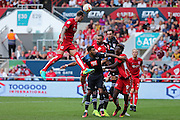Bristol Aden Flint (4) leaps high in the air for the ball during the EFL Sky Bet Championship match between Bristol City and Derby County at Ashton Gate, Bristol, England on 17 September 2016. Photo by Gary Learmonth.