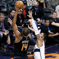 07 December 2017: Phoenix Suns center Greg Monroe (14) goes for the baby hook over Washington Wizards forward Markieff Morris (5) during the Washington Wizards 109-99 victory over the Phoenix Suns, at the Talking Stick Resort Arena, Phoenix, Arizona, USA.