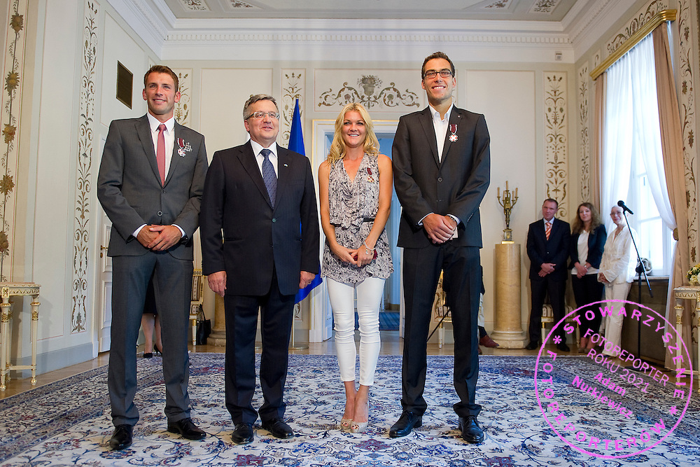 (L-R) Lukasz Kubot and Bronislaw Komorowski - President of Poland and Agnieszka Radwanska and Jerzy Janowicz during meeting in Belvedere Palace in Warsaw, Poland.<br /> <br /> Poland, Warsaw, July 08, 2013<br /> <br /> Picture also available in RAW (NEF) or TIFF format on special request.<br /> <br /> For editorial use only. Any commercial or promotional use requires permission.<br /> <br /> Photo by &copy; Adam Nurkiewicz / Mediasport