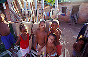 Group of kids in a favela/shanty town, Brazil, 2000's