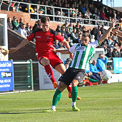 TELFORD COPYRIGHT MIKE SHERIDAN 29/9/2018 - Ross White of AFC Telford crosses under pressure during the Conference North fixture between Blyth Spartans and AFC Telford United at Croft Park, Blyth.