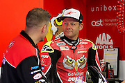 BSB Championship leader Shane Shakey Byrne looking relaxed in the garage before 1st practice at the BSB Championship at the TT Circuit,  Assen, Netherlands on 1 October 2016. Photo by Nigel Cole.