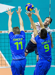 Danijel Koncilja of Slovenia and Dejan Vincic of Slovenia vs Hugo Fernando Lucas Gaspar of Portugal during volleyball match between National Teams of Slovenia and Portugal in 3rd Round of 2015 CEV Volleyball Men European Championship Qualifications, on May 24, 2015 in Arena Tabor, Maribor, Slovenia. Photo by Vid Ponikvar / Sportida