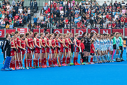 Great Britain Women and Argentina Women line up for the anthems before the 2019 Women's FIH Pro League match at Lee Valley Hockey Centre, Stratford<br /> Picture by Simon Parker/Focus Images Ltd <br /> 18/05/2019