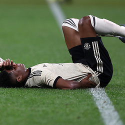 Marcus Rashford of Manchester United goes down with a back injury