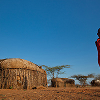 A Samburu boy in a village in Northern Kenya