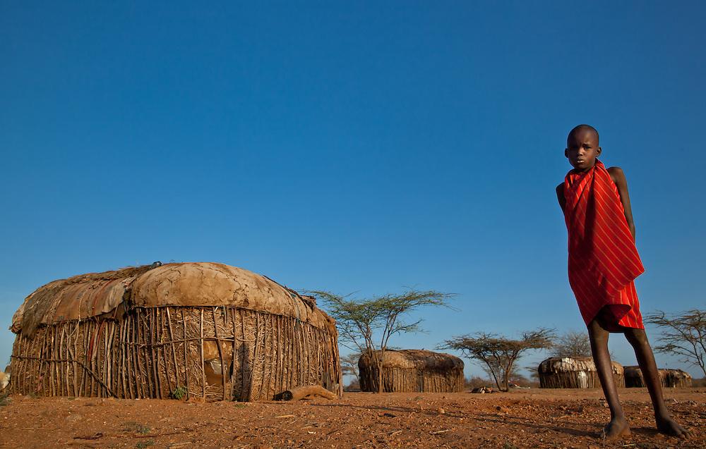 A Samburu boy in a village in Northern Kenya
