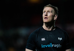 Ospreys' Bradley Davies during the pre match warm up<br /> <br /> Photographer Simon King/Replay Images<br /> <br /> Guinness Pro14 Round 12 - Dragons v Cardiff Blues - Sunday 31st December 2017 - Rodney Parade - Newport<br /> <br /> World Copyright © 2017 Replay Images. All rights reserved. info@replayimages.co.uk - http://replayimages.co.uk
