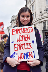 © Licensed to London News Pictures. 10/03/2018. LONDON, UK.  Katie Leung, actress, joins thousands of women taking part in the annual Million Women Rise march and rally, walking from Oxford Street to Trafalgar Square to protest against male violence towards women.  Photo credit: Stephen Chung/LNP