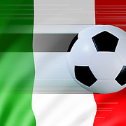 A moving soccer ball against the Italian flag to portray football or soccer in Italy.