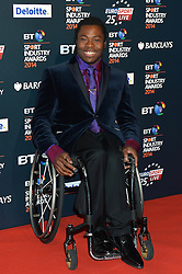 Pictured is Ade Adepitan MBE<br /> <br /> BT Sport Industry Awards 2014 at Battersea Evolution, London, UK.<br /> <br /> Thursday, 8th May 2014. Picture by Ben Stevens / i-Images