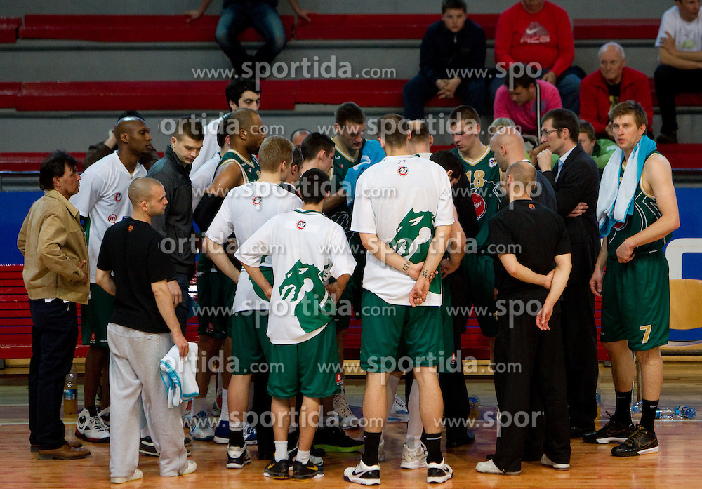 Head coach of Olimpija Jure Zdovc  and his players during basketball match between KK Geoplin Slovan and KK Union Olimpija in 4th Round of Telemach Slovenian Champions League, on April 6, 2011, in Sports Arena Kodeljevo, Ljubljana, Slovenia.  (Photo by Vid Ponikvar / Sportida)