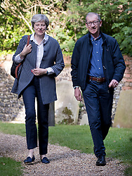 © Licensed to London News Pictures. 18/06/2017. Reading, UK. Prime Minister Theresa May and her husband Philip attend church in her constituency. Photo credit: Peter Macdiarmid/LNP